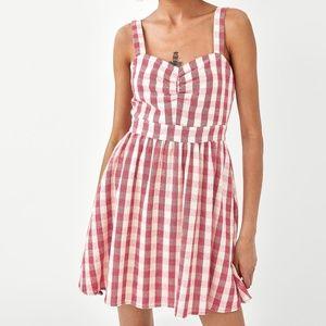 NWT Zara V-neck Checked Dress